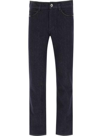 Salvatore Ferragamo Jeans With Leather Trims