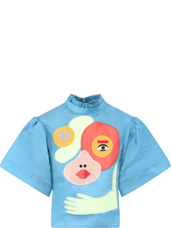 Raspberry Plum Light Blue''hannah'' Blouse For Girl With Colorful Patches