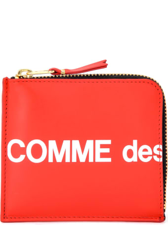 Comme des Garçons Wallet Wallet Huge Logo Red Leather L Closure
