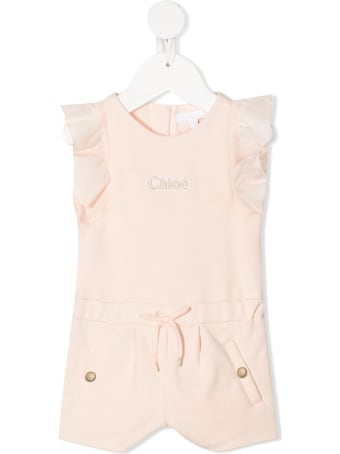Chloé Pink Cotton Romper With Ruffles Detail And Logo