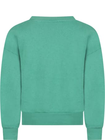 The Animals Observatory Green Sweatshirt For Kids