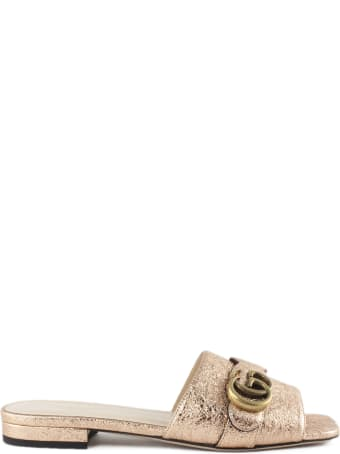 Gucci Salmon Metallic Laminate Leather Slide