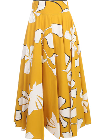 Gentry Long Circle Skirt W/flowers Printing