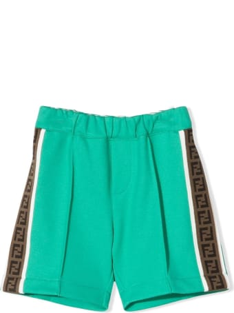 Fendi Green Cotton Blend Shorts