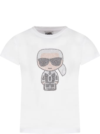 Karl Lagerfeld Kids White T-shirt For Girl With Colorful Karl