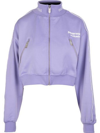 Pharmacy Industry Lilac Zippered Cropped Woman Sweatshirt With Logo