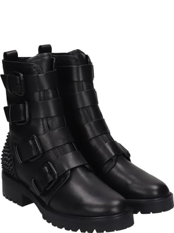 Lola Cruz Combat Boots In Black Leather