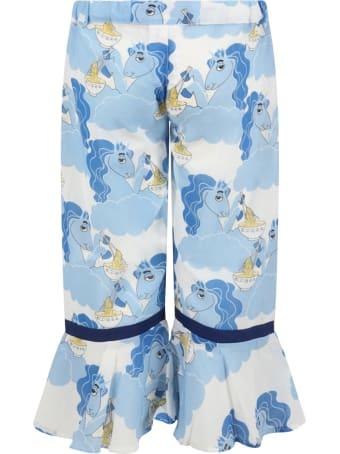 Mini Rodini Light Blue Trouser For Girl With Unicorns