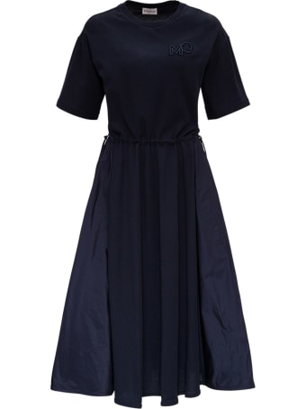 Moncler Long Dress With Embroidered Logo