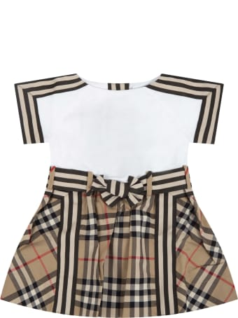 Burberry White And Beige Dress For Baby Girl
