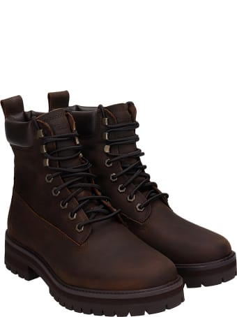 Timberland Courma Guy Combat Boots In Brown Leather