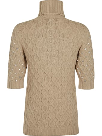 Blumarine Crystal Embellished Patterned Sweater