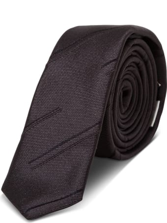 Saint Laurent Thin Silk Tie With Double Stretch Pattern
