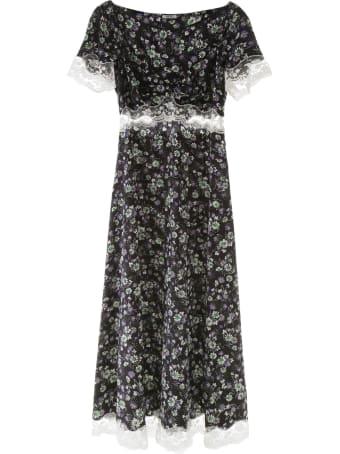 Miu Miu Floral-printed Dress With Lace