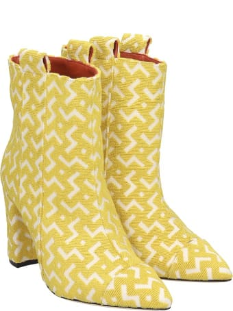 Bams High Heels Ankle Boots In Yellow Fabric
