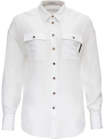 Brunello Cucinelli Silk Shirt With Monile Detail