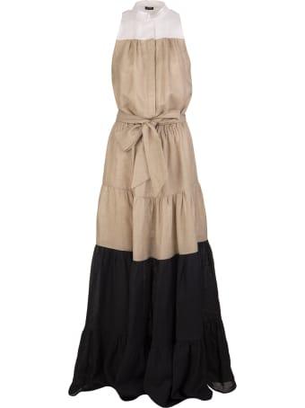 Kiton White/beige/black Linen Sleeveless Tiered Maxi Dress