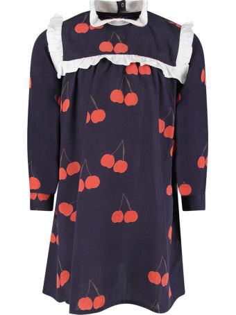 Mini Rodini Blue Girl Dress With Red Cherries