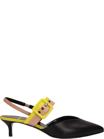 Pierre Hardy Black Leather Alpha Sling Sandals