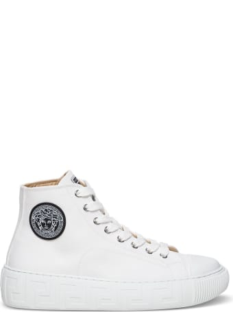 Versace Greca Sneakers In White Canvas With Logo