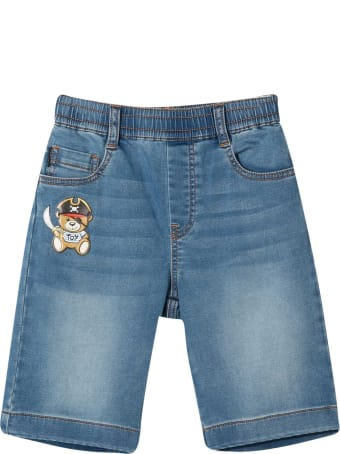 Moschino Blue Bermuda Shorts With Applications