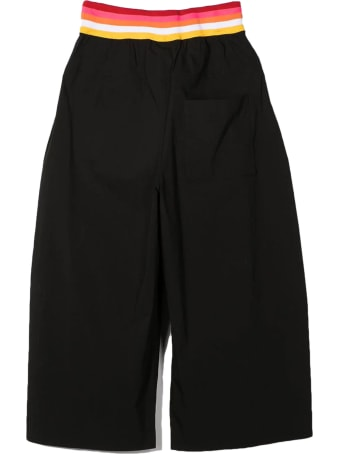 Fendi Black Cotton-blend Wide-leg Trousers