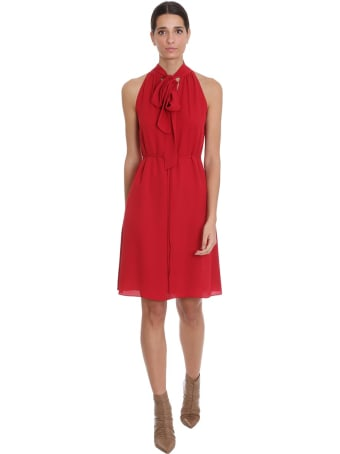 Theory Dress In Red Silk