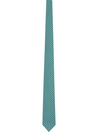 Salvatore Ferragamo Silk Tie With Micro Pattern