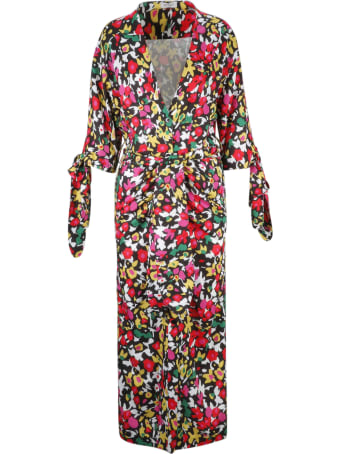 The Attico Tie Waist Floral Coat