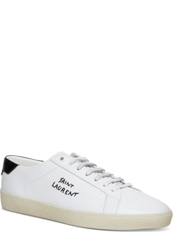 Saint Laurent Low Top Leather Sneakers With Logo