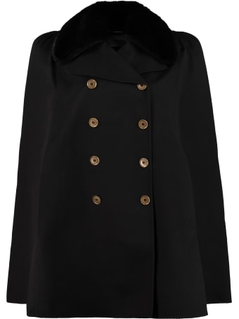 Fendi Fur Collar Wool Cape Coat