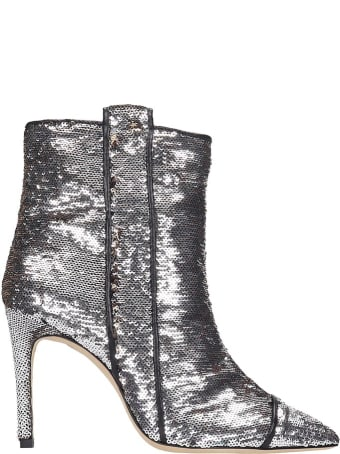 Bams High Heels Ankle Boots In Animalier Tech/synthetic