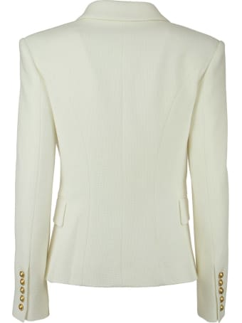 Balmain Double-breasted Cotton Blazer With Golden Embossed Buttons