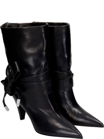 Alexandre Vauthier High Heels Ankle Boots In Black Leather