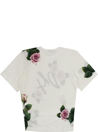 Dolce & Gabbana Jersey T-shirt Tropical Rose Print