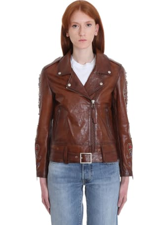 Golden Goose Victoria Leather Jacket In Brown Leather
