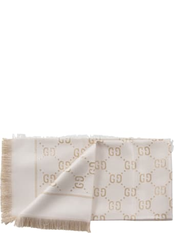 Gucci Ivory And Gold Girl Scarf With Double Gg