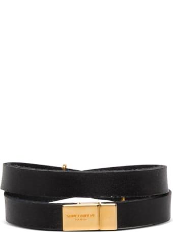 Saint Laurent Black Leather Bracelet With Ysl Buckle
