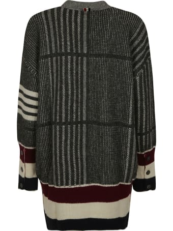 Thom Browne Oversized Check Jacquard Exaggerated Fit V-neck Cardigan