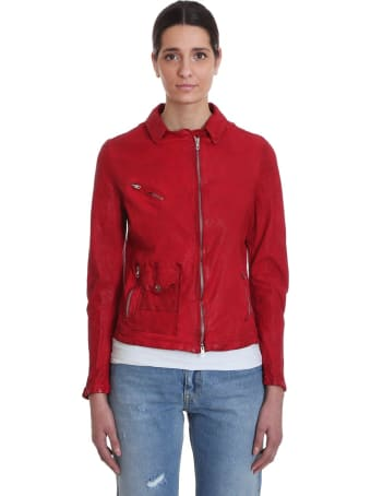 Salvatore Santoro Leather Jacket In Red Leather