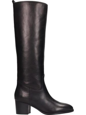 Fabio Rusconi Low Heels Boots In Black Leather