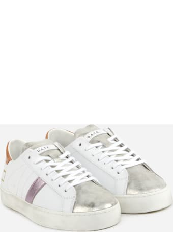 D.A.T.E. Hill Low Sneakers In Leather With Lacquered Leather Heel Tab
