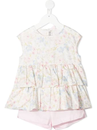 Il Gufo Floral Jersey Blouse And Shorts Suit