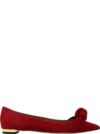 Aquazzura Red Suede Kiki Flat
