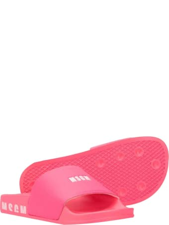 MSGM Pink Teen Sandals With Frontal Logo