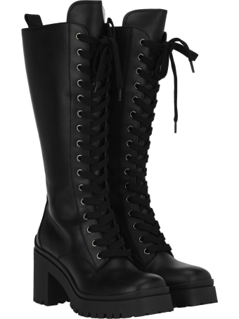 Miu Miu Lace-up Leather Knee-length Combat Boots