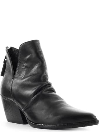 Elena Iachi Black Leather Texan Ankle Boot