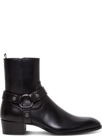 Saint Laurent Wyatt Ankle Boots In Black Leather
