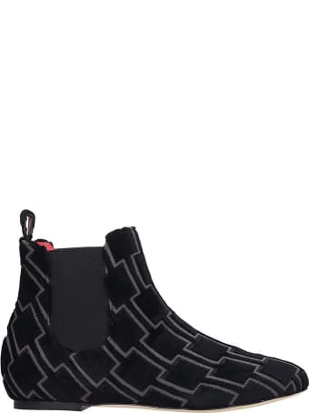 Bams Ankle Boots In Black Fabric