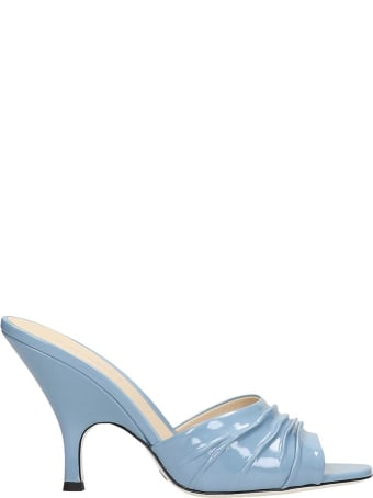 Grey Mer Sandals In Cyan Patent Leather